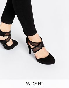 New Look Wide Fit Smesh Cross Front Heeled Shoes
