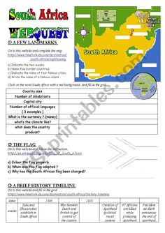 This webquest is the starting point of a series on South Africa. It makes students familiar with the geography, the flag and the main historical events of the country up to I hope it will be useful. South Country, Vocabulary Worksheets, Culture Club, Brainstorm, Esl, Geography, Flags, South Africa, Countries