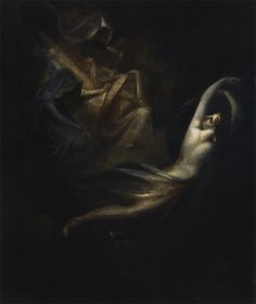 """ Psyche, unperturbed, passing the Fates John Henry Fuseli 1780 - 85 """