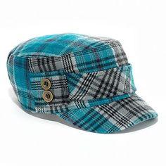 Mudd Plaid Cadet Hat in cute blue!