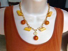 Pumpkin and Spice button necklace by lastingattachments on Etsy