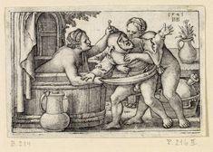 """""""Ein Narr Mit Zwei Badenden Weibern"""" (a fool with two bathing women), Hans Sebald Beham, 1541."""