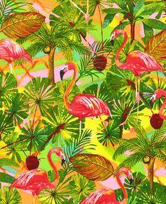 Telas de animales - Tela FQ :: flamingo tropical jungle :: - hecho a mano por nosgustanlosretros en DaWanda