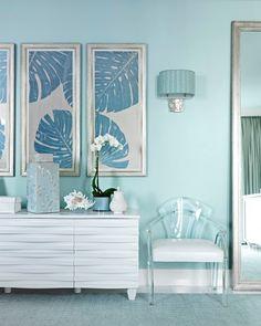 Miami High-Rise Apartment. Master Bedroom: Transparent Furniture, Lucite Chair.
