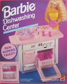 Barbie DISHWASHING CENTER Playset DISH WASHER w Working FAUCET & More (1993 Arcotoys, Mattel) by Arcotoys, Mattel. $148.99