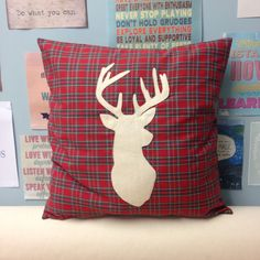 Highland Stag  Red Tartan Cushion Pillow Cover by BeUniqueBaby