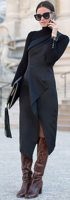 Midi Turtleneck Black Dress Fall Iinspo women fashion outfit clothing stylish apparel @roressclothes closet ideas
