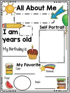 Printable All About Me Poster for a Preschool Theme