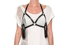 LINGERIE CAGE leather harness bra with removable by JungleTribe