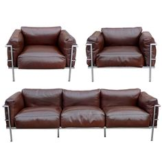After A Model By Le Corbusier, Sofa Pair Of Lounge Chairs, Circa 1980