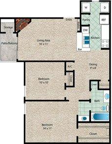 La Marina Floor Plan at The El Dorado View Apartments in Webster, TX
