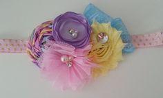 Lilac and Pink headband,Lavender headband,baby girl headband,first birthday headband,My little pony inspired headband,Lilac baby blue bows