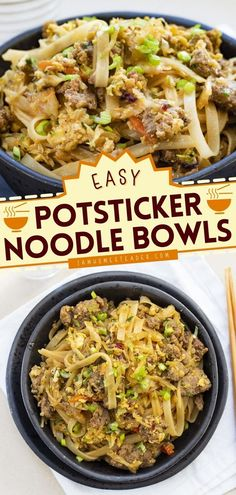 Potsticker Noodle Bowl is an Asian-inspired meal loaded with rice noodles then mixed with ground pork, cabbage, and topped off with a homemade rice vinegar sauce. Save this delicious dinner recipe!