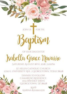 Shop Elegant Chic Pink Floral Christening Baptism Invitation created by CardHunter. Girl Baptism Party, Christening Party, Baby Christening, Baptism Cakes, Baptism Favors, Baptism Centerpieces, Girl Baptism Decorations, Communion Decorations, Baptism Invitations Girl