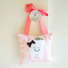 Girls Tooth Fairy Pillow in Honeysuckle Pink by BoutiqueVintage72, $18.00