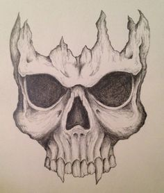 King by on DeviantArt Cool Skull Drawings, Creepy Drawings, Skull Artwork, Dark Art Drawings, Tattoo Design Drawings, Art Drawings Sketches Simple, Animal Sketches, Pencil Art Drawings, Scary Art
