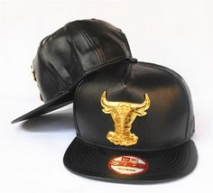 Cheap NBA Chicago Bulls Snapback Black Leather Hats Gold Bull Logo 1052 Factory Direct Sale and Please go follow me to pick up coupons