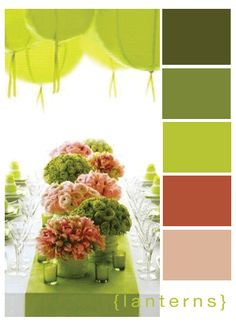 I love this refreshing use of the shades of green and then the cute pop of girly neutral colours! :)
