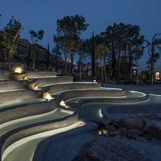 Our projects: Nammos Village. A new retail park built a stone's throw from one of Mykonos' most beautiful beaches, Nammos Village . Landscape Design Small, Landscape Lighting Design, Modern Garden Design, Luxury Lighting, Outdoor Lighting, Stone Paths, Green Facade, Pool Water Features, Vegetable Garden Design