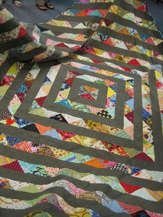 Noelle's Half Square Triangle Quilt as seen @ Sew Katie Did