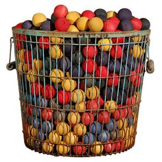 Vintage Carnival Game Balls: Colorful collection of 50 wooden carnival game balls from the St. Louis carnival company.