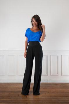 pantalon en soie noir taille haute atelier de couture 1