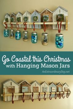 Mason jars are wonderfully versatile and fun to decorate with...especially at the holidays. Make it a coastal Christmas with hanging mason jars, this year. Don't miss the