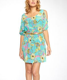 This Blue Floral Convertible Sleeve Dress is perfect! #zulilyfinds