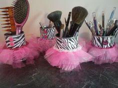 Hot glue & sparkle: diy zebra print tutu cans. Teen Bedroom Makeover, Zebra Decor, Little Girl Rooms, Little Girls Vanity Diy, Pink Zebra, Cute Diys, Kids Bedroom, Bedroom Ideas, Bedroom Decor