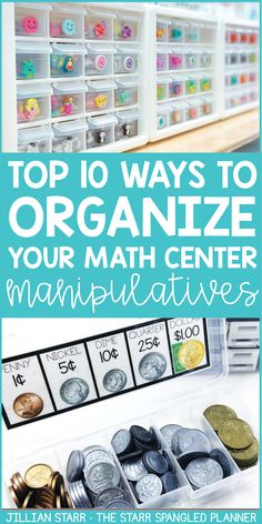 10 ideas to help keep your classroom materials organized and save you TONS of prep time! From storage ideas to guided math center organization, these hacks and tips will have your manipulatives and supplies organized in no time! 1st Grade Math, Kindergarten Math, Teaching Math, Third Grade, Teaching Ideas, Fourth Grade, Teaching Resources, Sixth Grade, Preschool Ideas