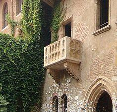 Juliet's balcony, Verona Italy. Hark, what light through yonder window breaks?