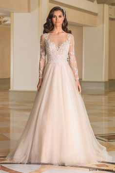 justin alexander bridal fall 2016 illusion long sleeves bateau neck ball gown wedding dress (8873) mv nude color beaded bodice