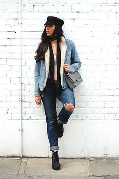 Get this look: http://lb.nu/look/8194145  More looks by Elvira Vedelago: http://lb.nu/carellestyle  Items in this look:  Asos Baker Boy Hat, Asos Skinny Scarf, Topshop Denim Jacket, Hollister Boyfriend Jeans, H&M Platform Boots   #casual #chic