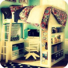 Cool room! except I would be constantly worrying about falling off the bed. I do that and mine is low to the ground...my alarm is like a heart attack