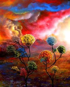 35 Stunning and Beautiful Tree Paintings for your inspiration Art Graphique, World Of Color, Tree Art, Beautiful Paintings, Rainbow Colors, Bunt, Amazing Art, Awesome, Fantasy Art