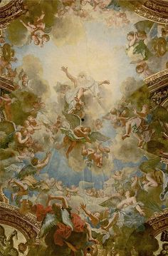 """Almighty God the Father"""", by Antoine Coypel, detail of the ceiling of the chapel of the Palace of Versailles, Yvelines, France"""