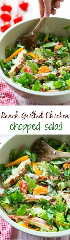 Grilled ranch-marinated chicken, a rainbow of fresh veggies and lots of ranch dressing collide in this simple, flavor-loaded chopped salad. ---soon to be your new favorite summer salad!