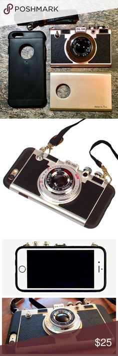 """Vintage Camera iPhone case 2-way, 4- piece cell phone cover set: black silicone body with detachable snap on camera plate OR snap on flat gold plate. Camera Is EXTREMELY detailed & 3-D with metal fasteners that hook to a 40"""" sling to hang from your neck. **A seriously great attention- grabber & excellent outfit accessory!** Looks and feels just like a real Nikon camera, and protective like a classic phone case! Offers welcome, more pics available if needed. Thanks! Accessories Phone Cases"""