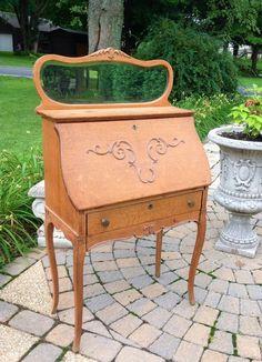 Jc Antique Ladies Drop Down Secretary Writing Desk Oak