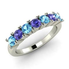 Heptagon Ring with Round Blue Topaz, Tanzanite   0.7 carat Round Blue Topaz   Wedding  in 14k White Gold   Diamondere
