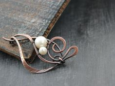 Shawl pin, scarf pin, sweater pin, brooch Flower pod, antique copper and pearl shawl pin, textured, hammered, wire wrap, knitting accessory by Keepandcherish on Etsy