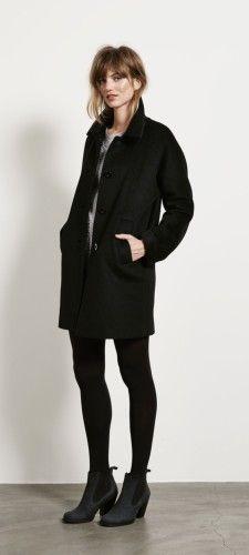Black coat grey sweater