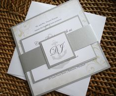 Vintage Nautical Wedding Invitation set  Silver by alamodebride
