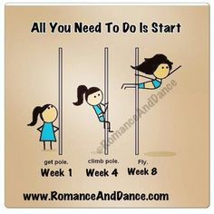 All you have to do is start. You will be a Pro in no time at all. @romanceanddance #polefit #poleclass #poledance #poleaerobics #fitness #gym #workout