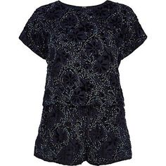 Stand out in a sea of LBDs in this navy blue floral bead-embellished playsuit #riverisland