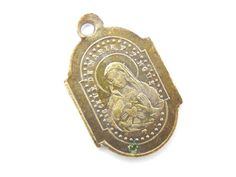 Antique Our Lady of the Sacred Heart - Sacred Heart of Jesus Catholic Medal - Bronze Religious Charm - S28 by LuxMeaChristus on Etsy