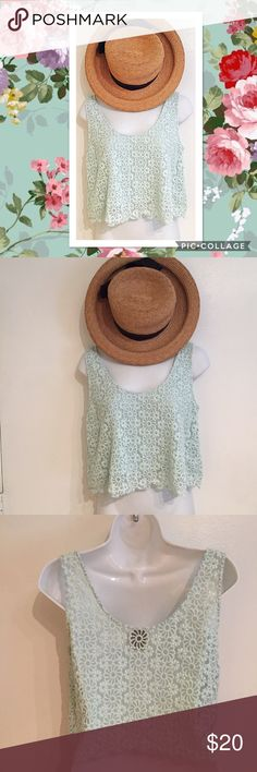 ☘️5for$25🍀Mint Eyelet Floral Crop Top Mint colored Eyelet Floral textured crop top. Size medium by Alythea.  #mint #eyelet #floral #textured #croptop #medium #spring #pastel #punkydoodle  No modeling Smoke free home I do discount bundles Alythea Tops Crop Tops