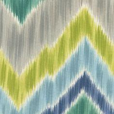 Drapery Fabric - Tribal Field Aquamarine Chevron Drapery Fabric by Braemore
