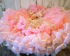 Pink skirting for shabby cottage chic vanities tables tattered lace on ruffled hand dyed sheer fabric w/roses home decor anita spero design