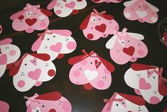 handmade Valentines: Puppy Love Valentine Cards by Bunches and Bits {Karina}  ... way tooo cute with puppy dog faces made in red and pink and mostly heart shapes ... punch/die cut art ...